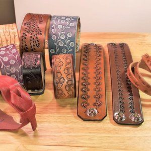 LOT of 11 Hand Tooled Painted Leather Cuffs
